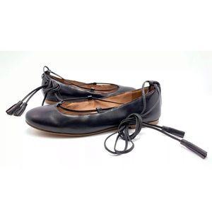 Madewell Inga 6.5 Black Ankle Ties Ballet Flats